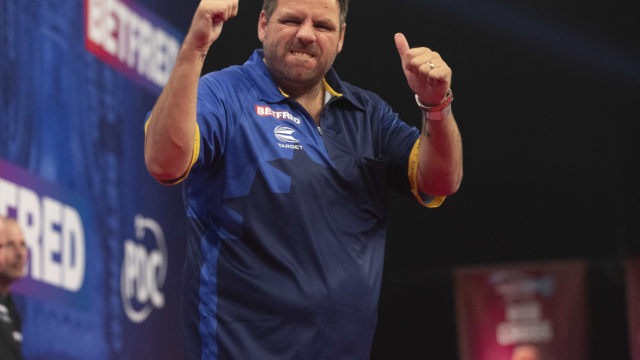 Adrian Lewis Receives Some Advice From Phil Taylor