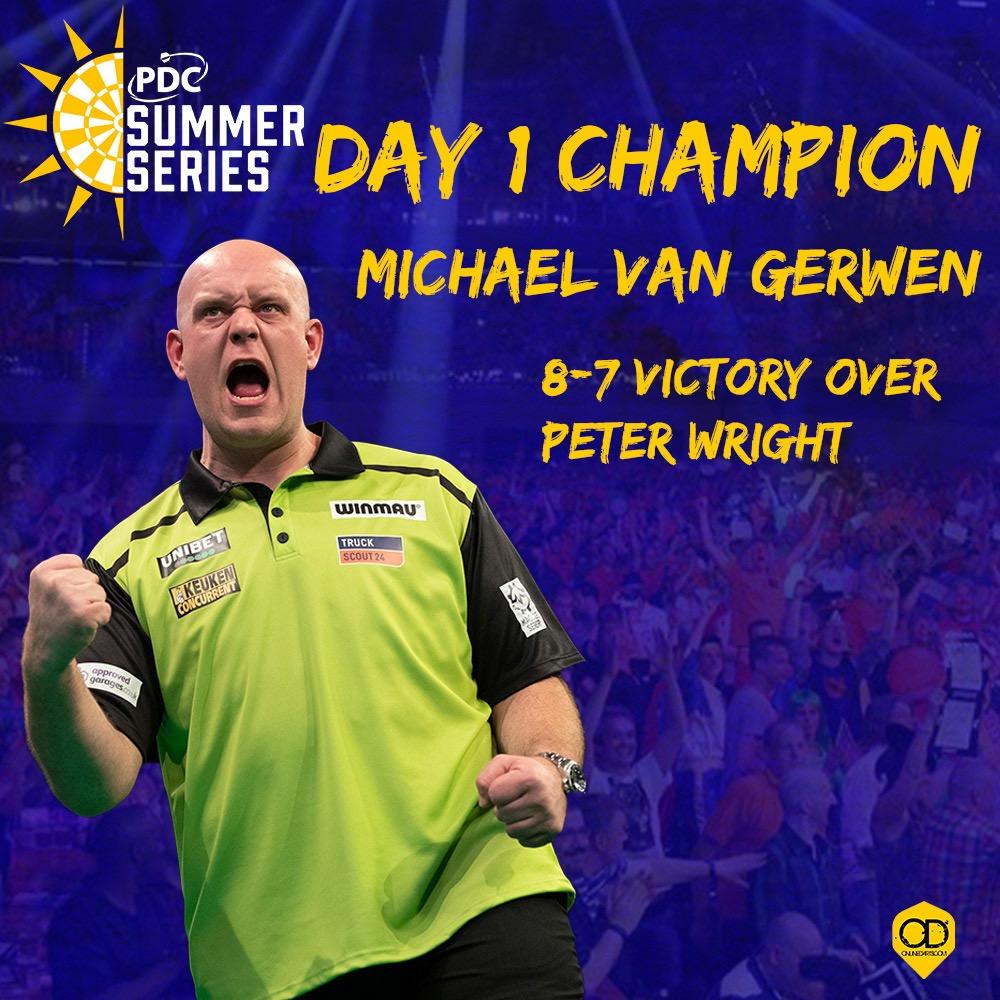 van Gerwen wins day one of PDC Summer Series
