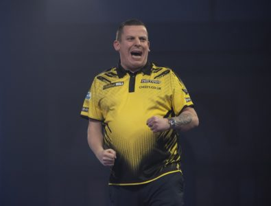 Dave Chisnall playing at the World Darts Championship
