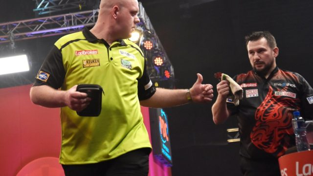 Clayton knocks out Van Gerwen on day two of The Masters