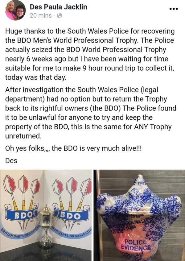 Des Jacklin has the BDO Trophy sized from Wayne Warren.